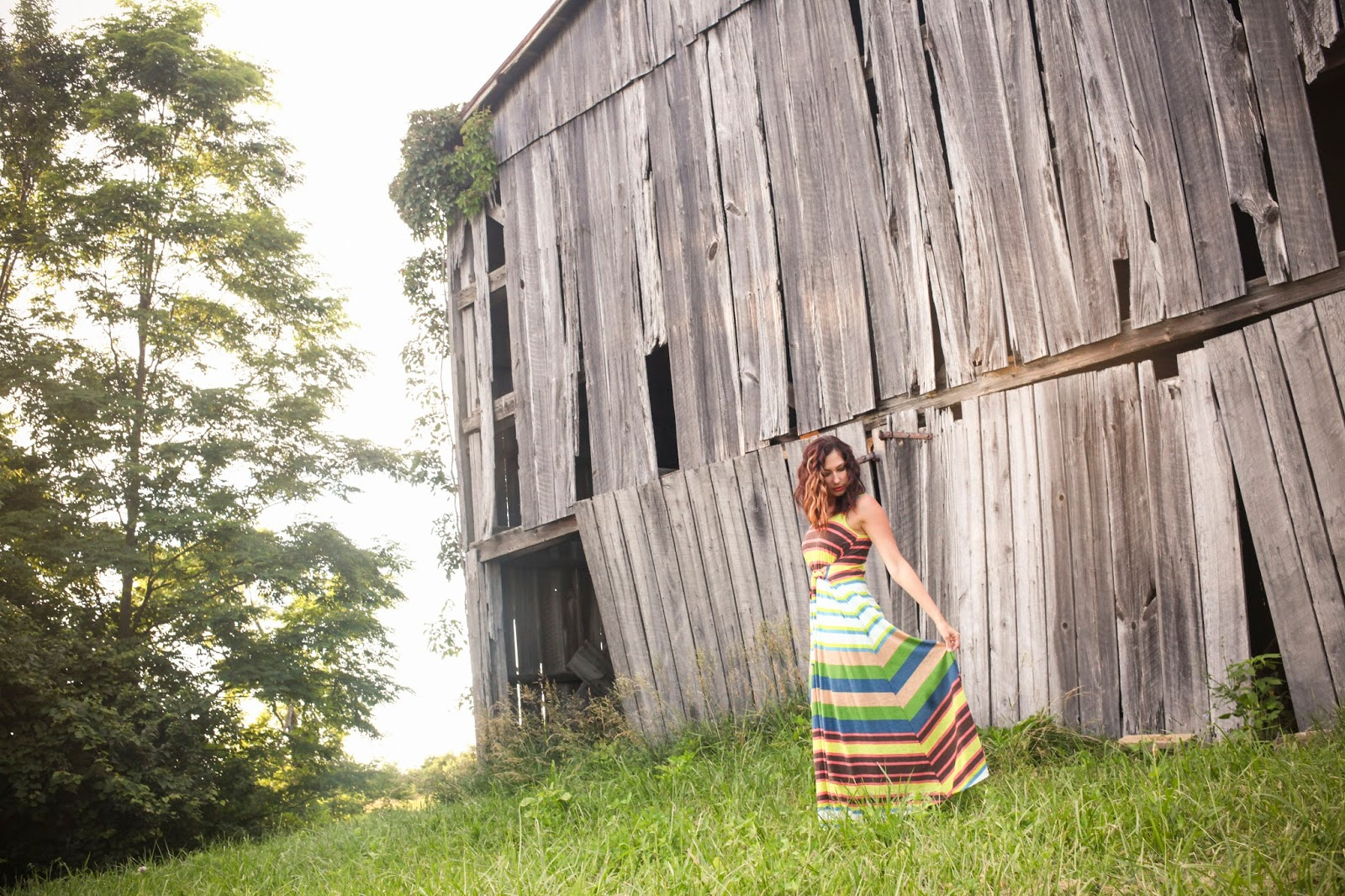 Amy West in Maxi Dress outside of old barn