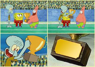 Polosan meme spongebob dan patrick 67 - squidward dapat piala