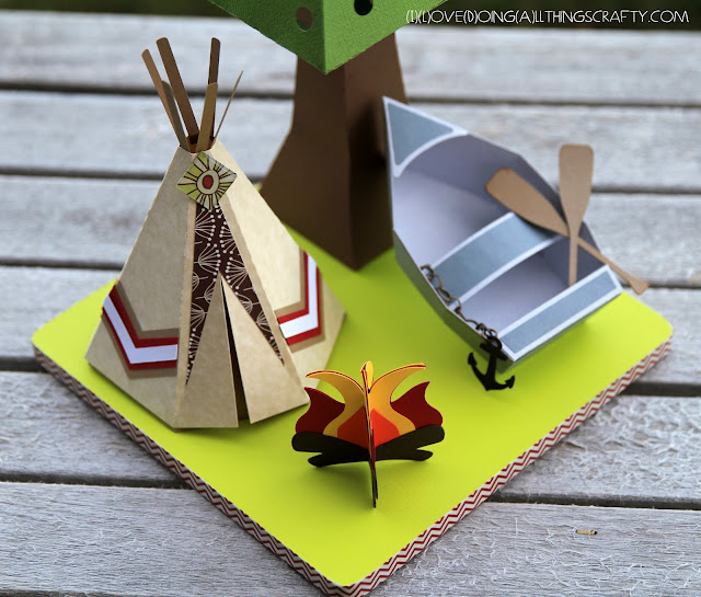 Pine Tree Paper Camping Scene Lamp and | Camp Lamp | SVGCuts