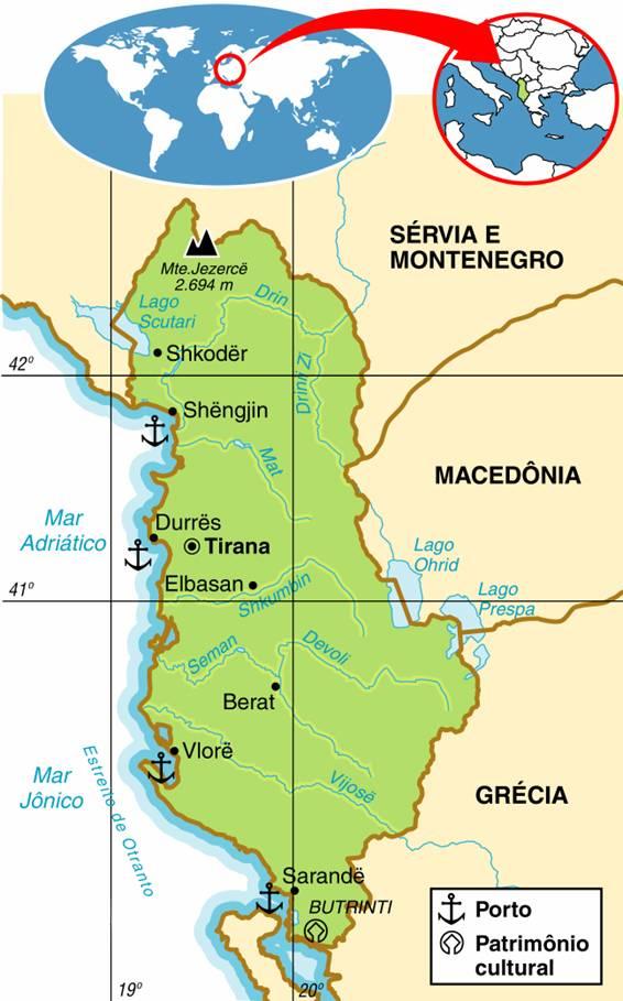 Mapa da Albânia