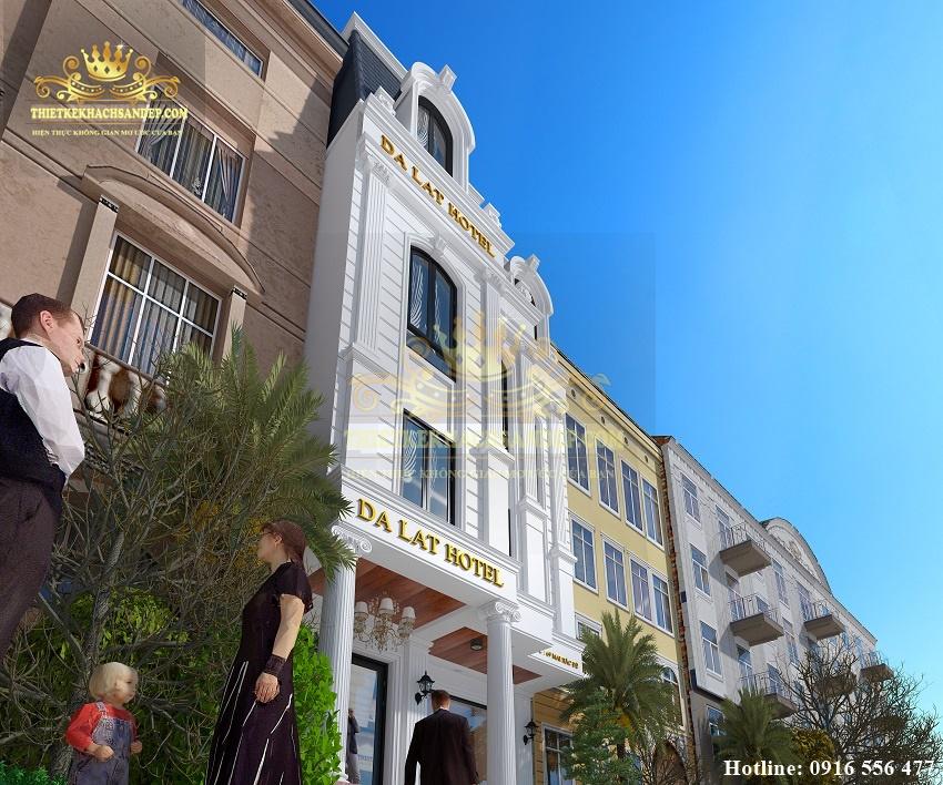Hình ảnh: Góc nghiêng mặt tiền của thiết kế khách sạn đẹp trên con phố Mai Hắc Đế