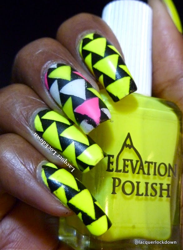 Lacquer Lockdown - Elevation Polish, Elevation Polish Base of Huangshan, neon nail polish, Loja BBF, BBF 06, Rica White Out, geometric nail art, cute nail art ideas, diy nail art, nail art stamping, nail art stamping blog, stamping, brazilian nail art stamping plates, triangle nail art
