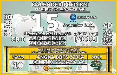 Kalender Prediksi SDY Rabu 15 September 2021