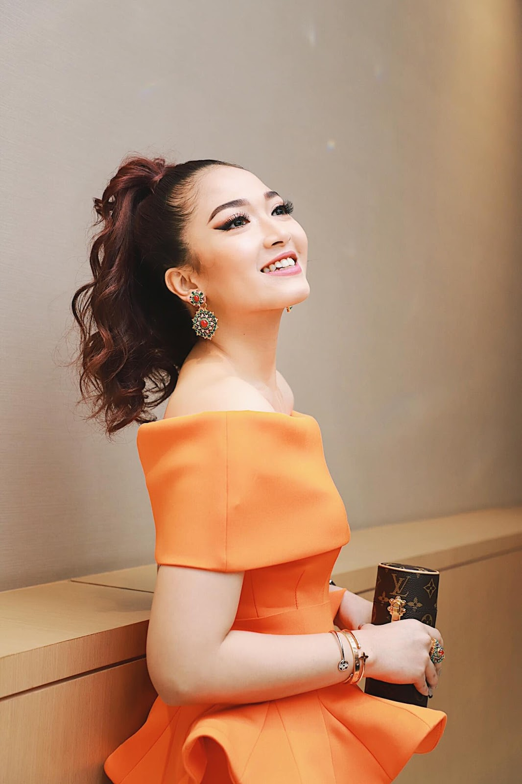 San Yati Moe Myint In Orange Outfit