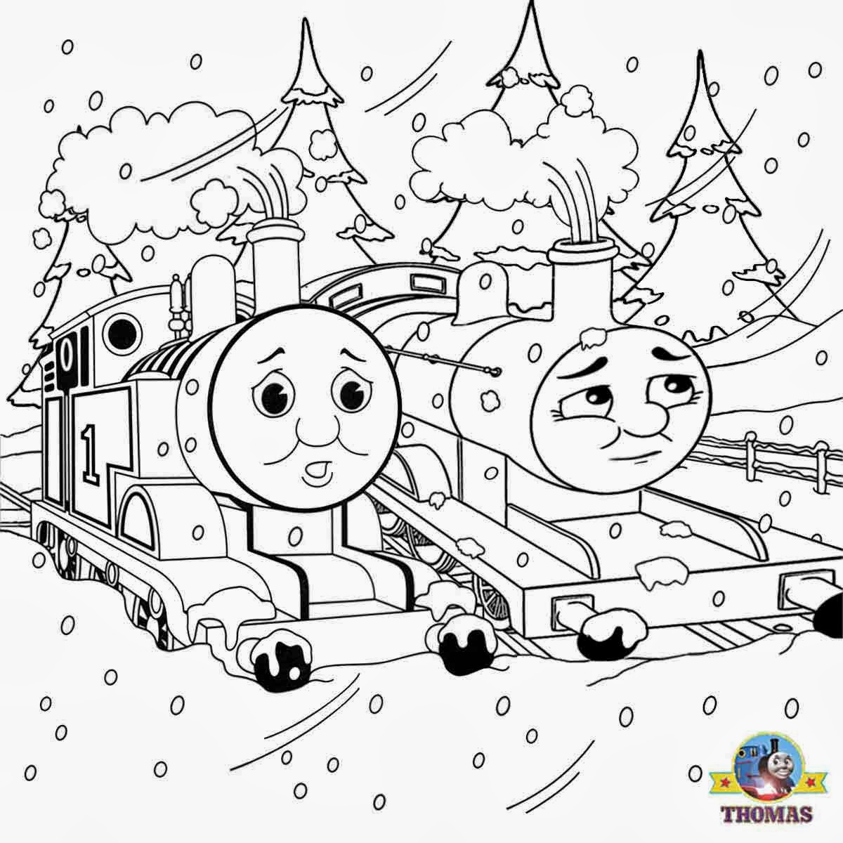Mr Snowman On Christmas Touching A Snowflake Coloring Page: Train Thomas The Tank Engine Friends Free