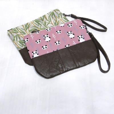 Женская сумочка для документов: кожа & ткань.  Принт: зеленый бамбук и панды на розовом фоне. Барсетки для женщин ручной работы