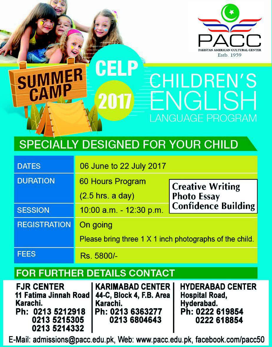 Admission open in PACC Pakistan American Cultural Center Karachi