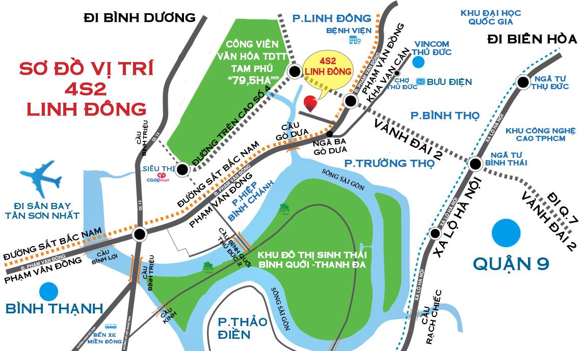 Vị trí căn hộ chung cư 4S River Side Linh Đông Thủ Đức HCM