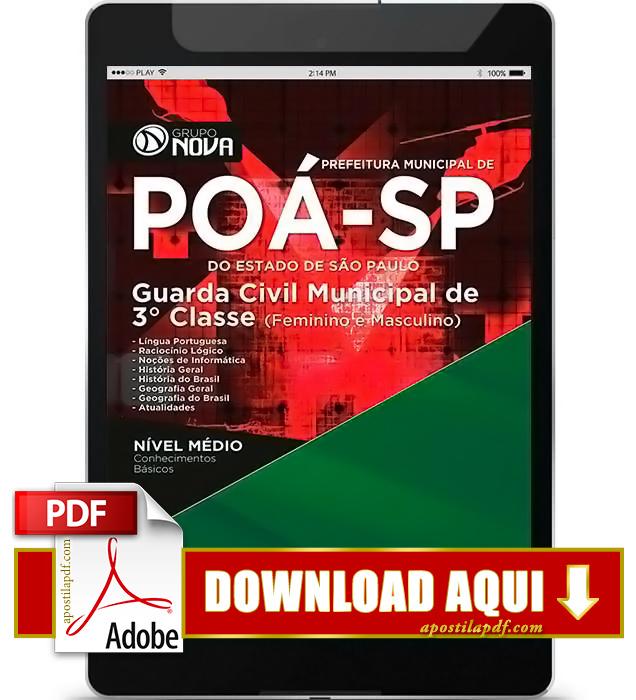 Apostila Prefeitura de Poá SP 2016 Guarda Municipal PDF Download