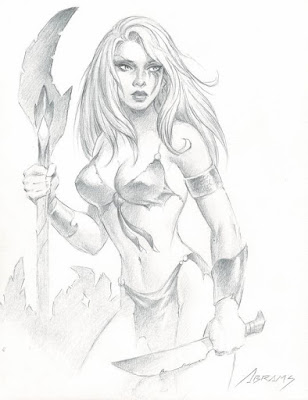 Jungle Girl pencil drawing