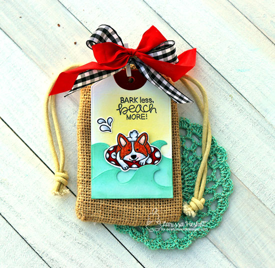 Cute Corgi Tag by Larissa Heskett | Corgi Beach Stamp Set and Fancy Edges Tag Die Set by Newton's Nook Designs #newtonsnook #handmade