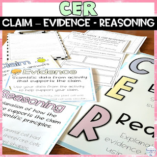 CER claim evidence reasoning materials for the upper elementary student