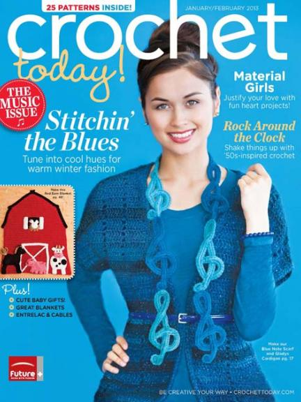 Crochet Today Janfeb 2013 Blue Note Scarf Celtic Knot Crochet