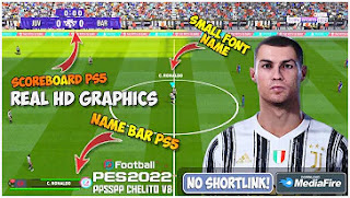Download PES 2022 PPSSPP Fix Small Font Name Camera PS5 English Version Commentary & New Update Transfer