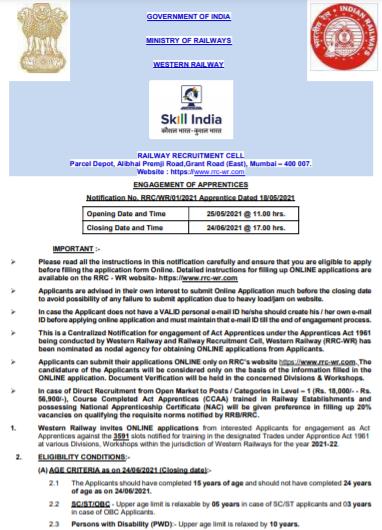 Western Railway Apprentice Recruitment 2021 Apply Online
