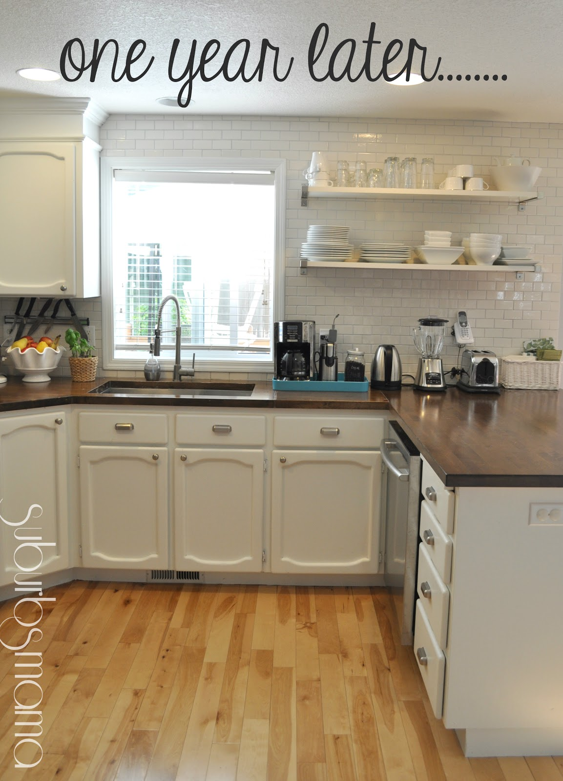 Suburbs Mama: Kitchen Update One Year Later (white cabinets and butcher block counters)