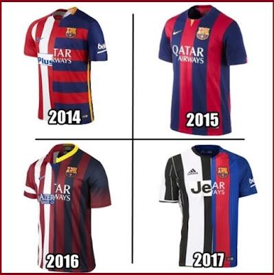 Camisetas del Barça en las últimas finales de Champions
