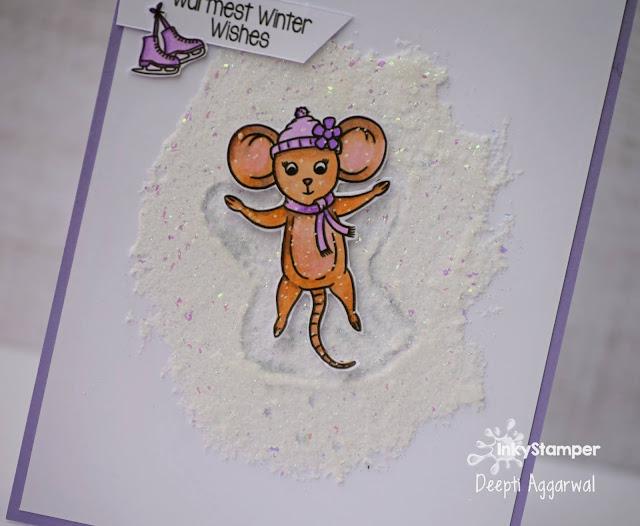 Ice effect Snoa angel holiday card - Inkystamper stamp