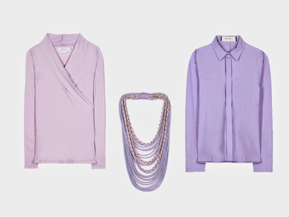 pink blouse, lavender blouse, and pink and lavender silk necklace