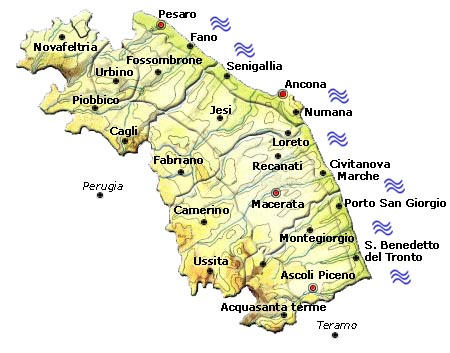 Marche Cartina Stradale.Italy Map Geographic Region Province City Marche Map Geography Regions
