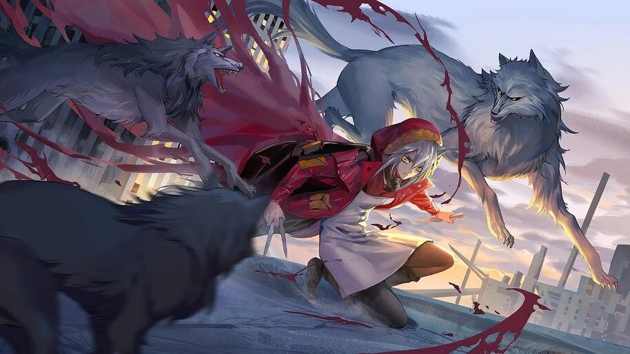 Projekt Red, Wolves, Arknights, Anime, Girl, 4K, #6.514