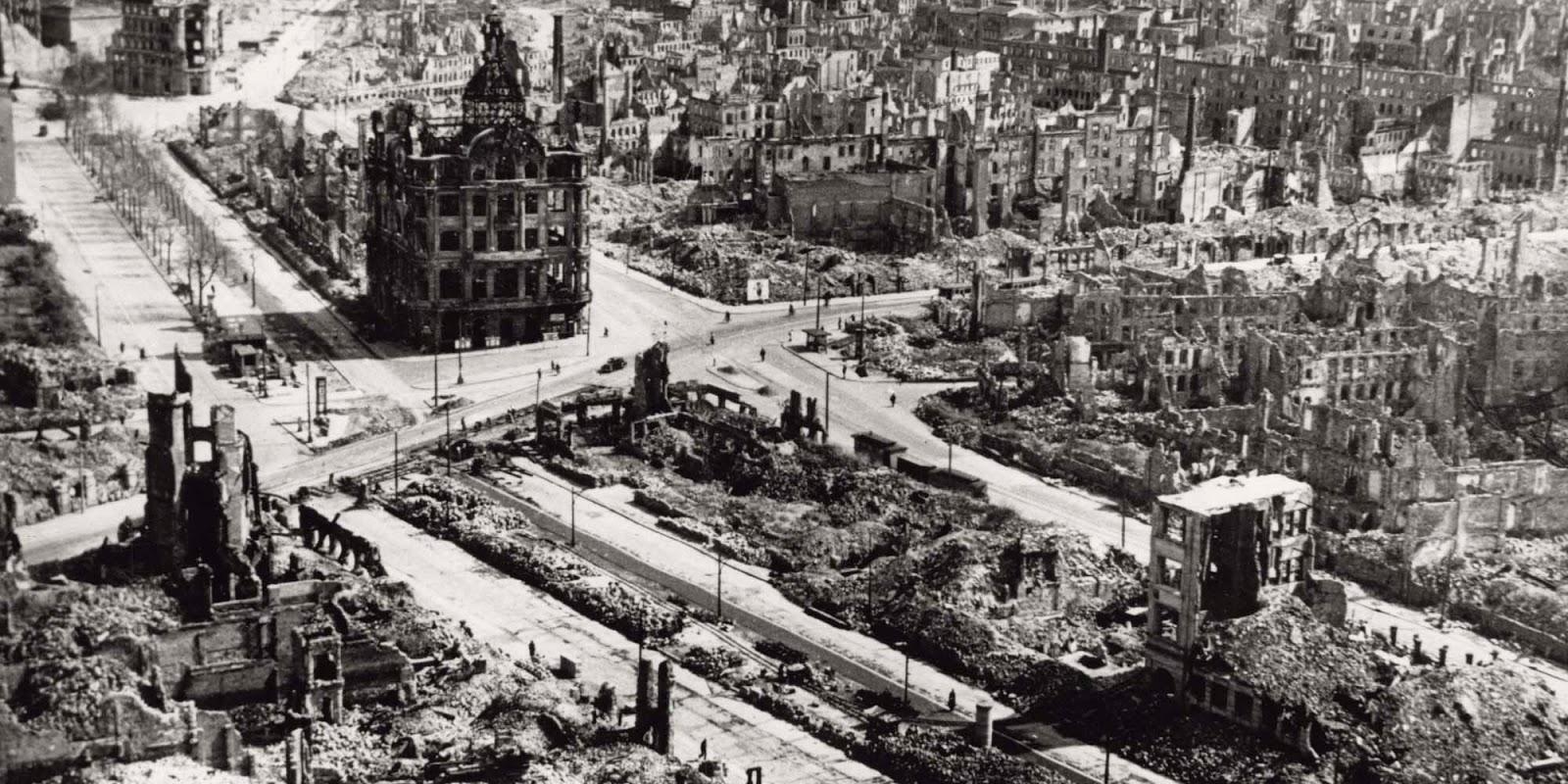 Dresde, después de los bombardeos de 1945