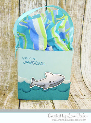Jawsome party favor box-designed by Lori Tecler/Inking Aloud-stamps from Lawn Fawn