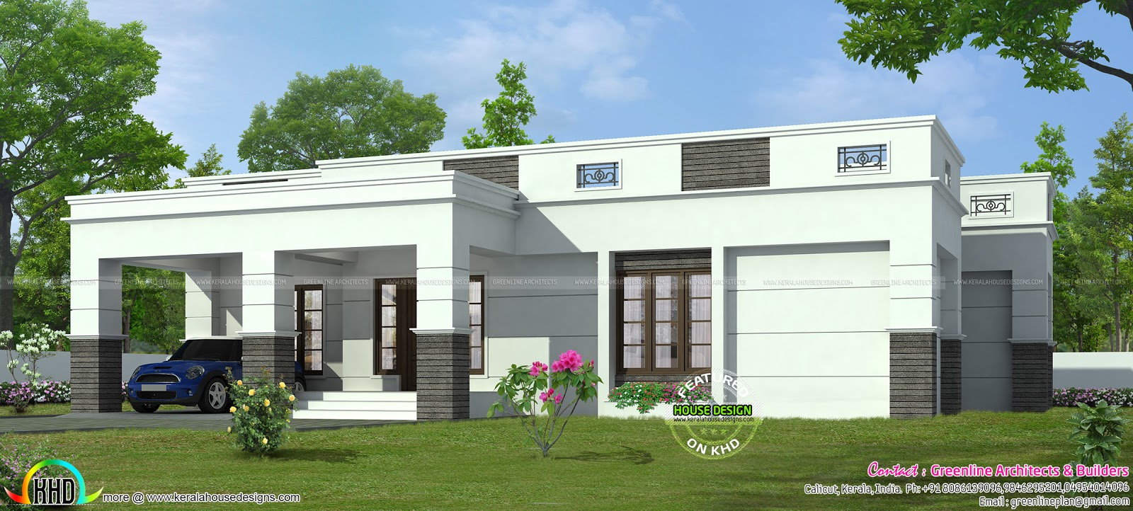 4 bedroom single storied flat roof home kerala home for Single floor 4 bedroom house plans kerala
