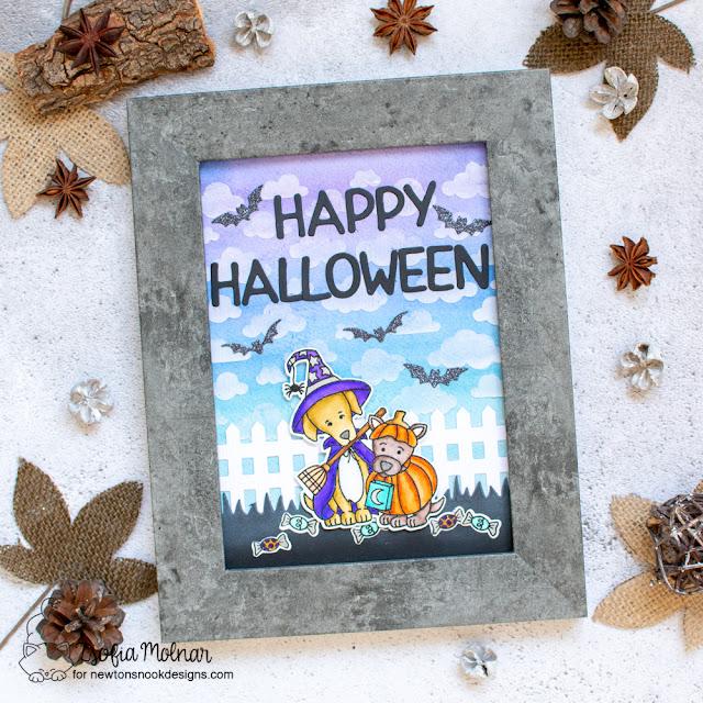 Halloween framed art by Zsofia Molnar | Happy Howl-oween Stamp Set by Newton's Nook Designs #newtonsnook #handmade