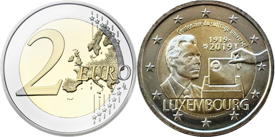 Luxembourg 2 euro 2019 - 100 years of Universal Suffrage