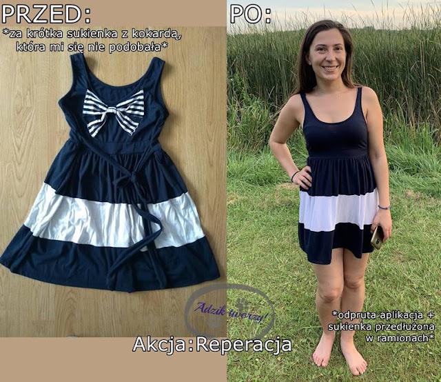 Za krótka sukienka przedłużona w ramionach DIY - Akcja:Reperacja u Adzika