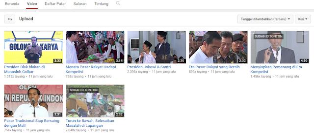 Review Akun Channel Youtube Resmi Presiden Joko Widodo