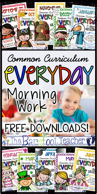 FREE DOWNLOADS! These daily math, literacy, and writing activity worksheets were made, with the Common Core standards in mind, to be independent practice review for Kindergarten students to do as morning work, homework, at a center, or however you would so choose. The repeat exposure to the standards allow students to master skills quickly. A perfect Back to School resource! You can even send a pack home for students to do over summer break. 10 monthly packs are included. That's 260 print outs!