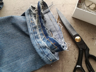 cut off old seam allowance on old jeans craftrebella
