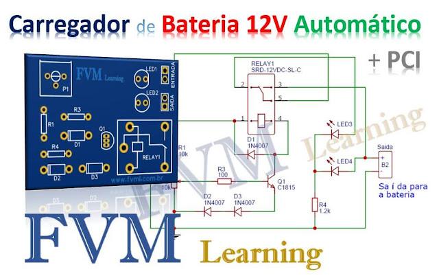 Carregador de Bateria 12V Simples, automático e com indicador de carregamento + PCI