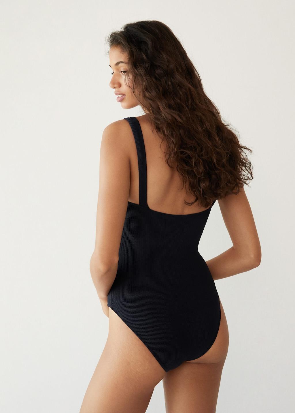 affordbale minimalist swimsuit — under $100 black one-piece swimwear with modest full coverage butt