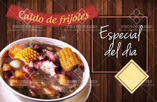 plantilla banner menu comida restaurante sopa de frijoles rojos con hueso social media