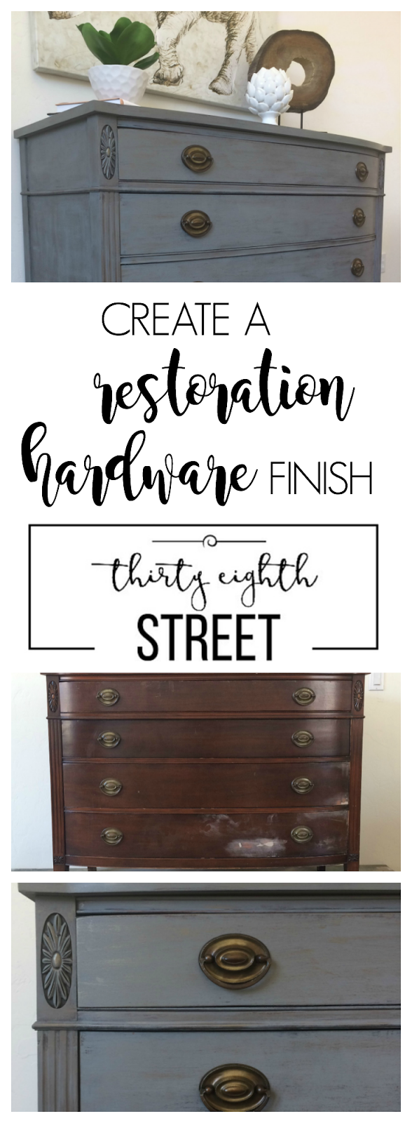 diy industrial furniture, restoration hardware knock off dresser, grey dresser makeover, diy restoration hardware tutorial, dry brush metallic cream on furniture, how to use metallic cream, how to get a layered look by dry brushing, dry brushing tutorial