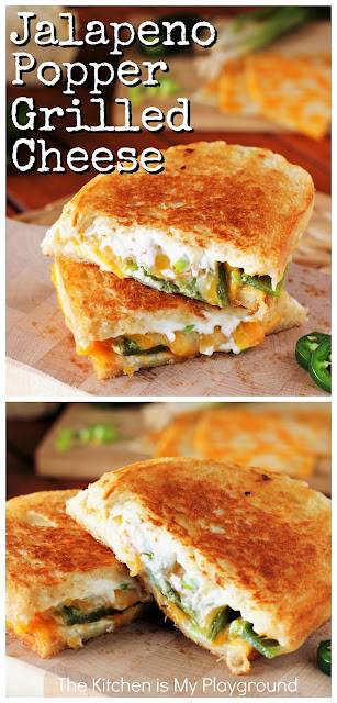 Jalapeno Popper Grilled Cheese ~ Not your average grilled cheese sandwich! Roasted fresh jalapenos kick up the heat in this delicious grilled cheese. It's a perfect creamy, cheesy sandwich for any jalapeno popper lover!  www.thekitchenismyplayground.com