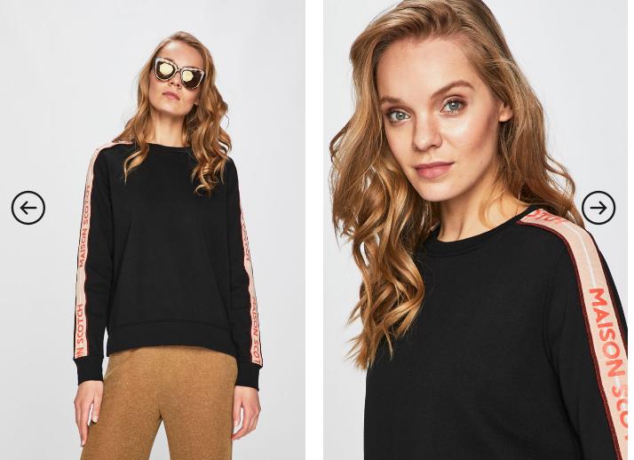 Scotch & Soda - Bluza neagra de firma model 2019 cu dungi pe lateral