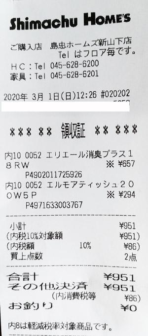島忠ホームズ 新山下店 2020/3/1 のレシート