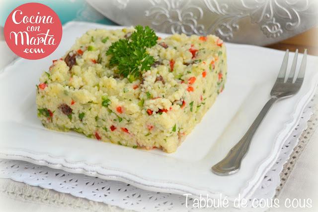 tabulé o tabbule de cous cous con verduras, ensalada fría marroquí, moruna, siria, líbano, receta casera, fácil, rápida, cocina con marta