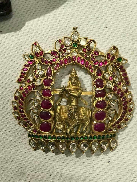 Lord Krishna and Vishnu Kundan Pendants
