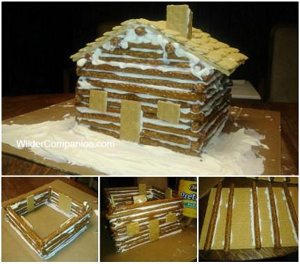 step by step pictures of log cabin pretzel craft