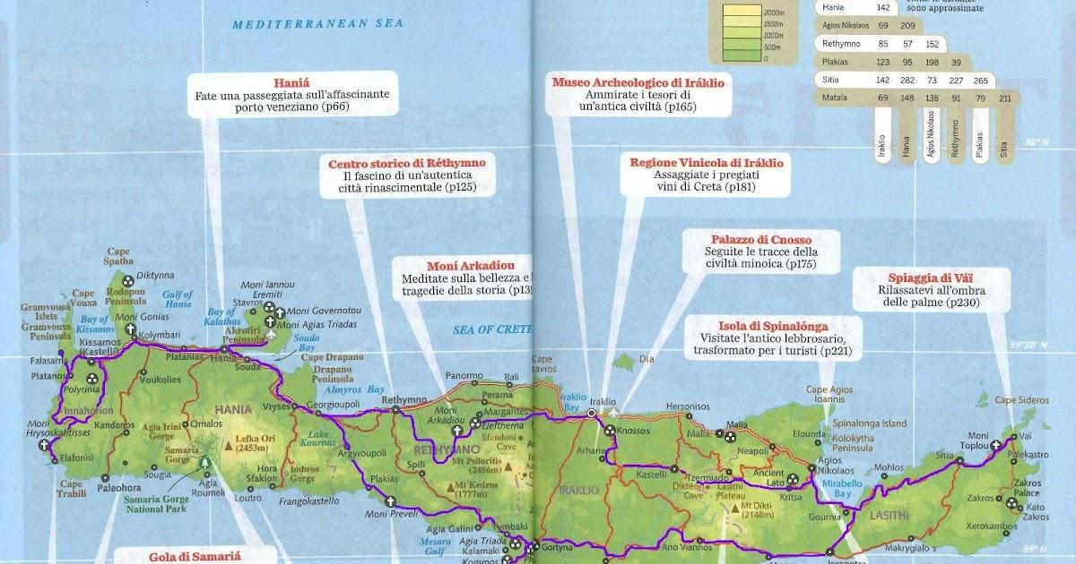 Cartina Geografica Dell Isola Di Creta.Vivendo Salendo La Mappa Del Giro Dell Isola Di Creta