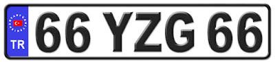 Yozgat il isminin kısaltma harflerinden oluşan 66 YZG 66 kodlu Yozgat plaka örneği