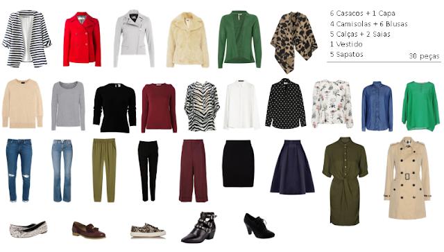 30 peças de roupa para 30 dias de Abril (6 casacos, 1 capa, 4 camisolas, 6 blusas, 5 calças, 2 saias, 1 vestido e 5 sapatos)