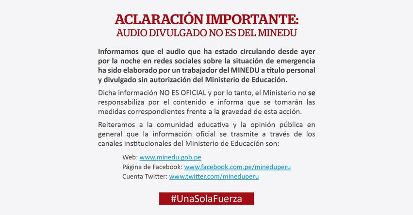 COMUNICADO MINEDU: Aclaración importante sobre audio divulgado no es del Ministerio de Educación - www.minedu.gob.pe