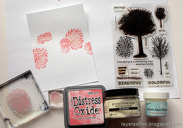 Layers of ink - Cherry Blossom Tree Tutorial by Anna-Karin Evaldsson. With Simon Says Stamp All Seasons Tree stamp set. Stamp and emboss the cherry blossoms.