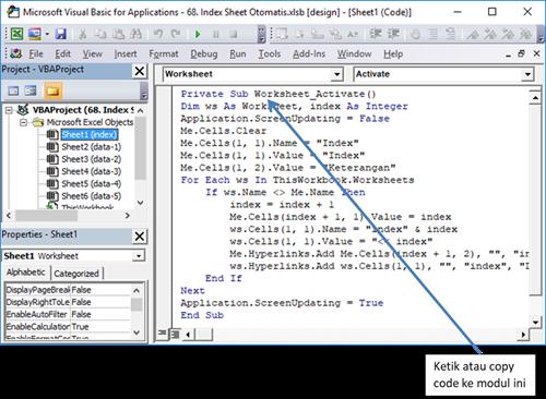 Cara copy code pada vba excel